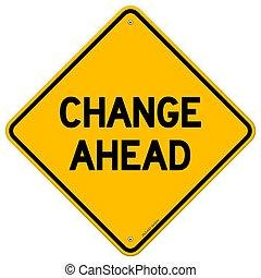 changement, devant, signe jaune