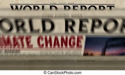 changement, journal, impression, mondiale, climat, rapport, presse