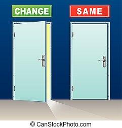 changement, même, portes