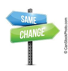 changement, poteau indicateur, conception, même, illustration