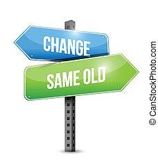 changement, vieux, même, signe, conception, illustration, route