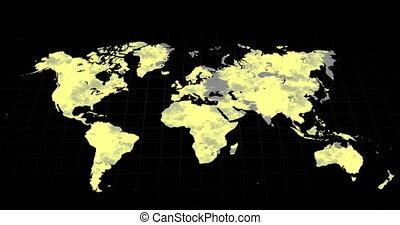 changer, noir, jaune, carte, gris, mondiale, surtout, fond