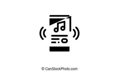 chanson, chant, icône, animation