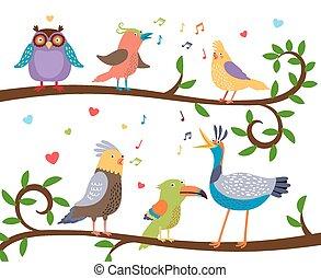 chant, branches, oiseaux, arbre