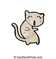 chant, dessin animé, chat