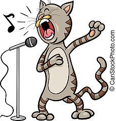 chant, dessin animé, illustration, chat