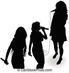 chant, microphone, silhouette, girl, noir