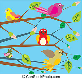 chant, -, oiseaux, printemps