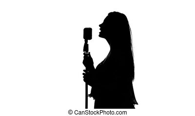 chante, chanteur, silhouette, chanson, white., microphone.