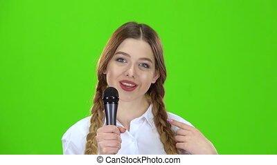 chante, microphone, écran, vert, écolière, smiles.