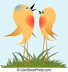 chanter, song., oiseaux, printemps