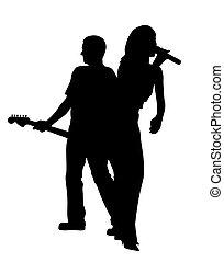 chanteur, dos, joueur guitare, femme, mâle