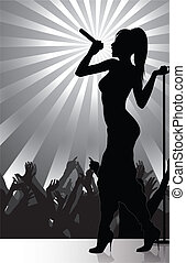 chanteur, exécuter, pop, étape