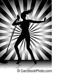 chanteur, silhouette, femme