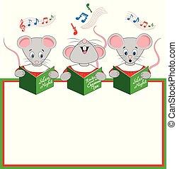 chants, trois, chœur, noël, souris, chanté