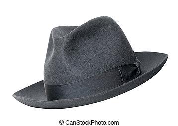 chapeau, blanc, noir, isolé, retro