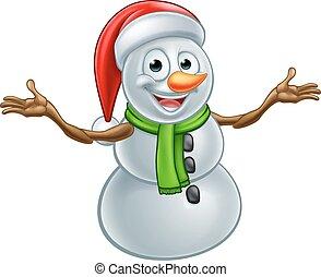 chapeau bonhomme neige, dessin animé, santa, noël