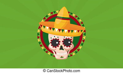 chapeau, célébration, mexicain, crâne, utilisation