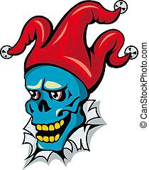 chapeau, clown, crâne