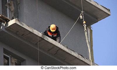 chapeau, construction, ouvrier dur, jaune