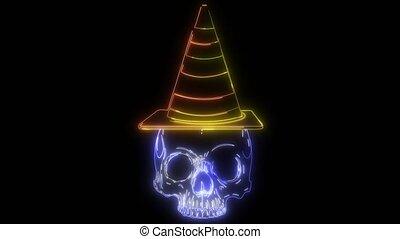 chapeau, crâne, sorcière, papier, icône, vidéo, halloween, autocollant