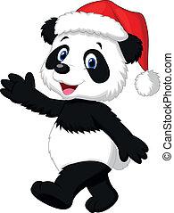 chapeau, dessin animé, rouges, porter, mignon, panda