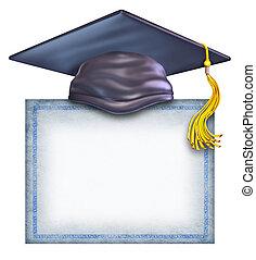chapeau, diplôme, remise de diplomes, vide