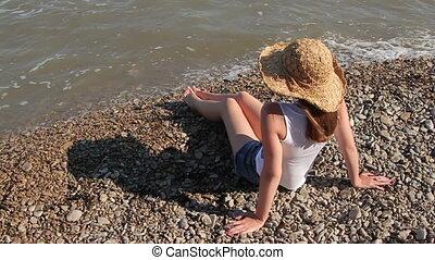 chapeau, femme, plage, séance