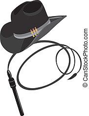 chapeau, fouet, cow-boy