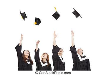 chapeau, groupe, lancement, heureux, diplômé, jeune, étudiants