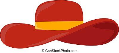 chapeau, illustration, blanc rouge, vecteur, arrière-plan.