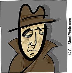 chapeau, illustration, homme