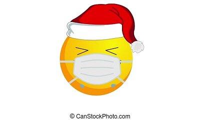 chapeau, isolé, channel., alpha, pleurer, santa, animation, noël, claus, jaune, emoji, rire, monde médical, blanc, masque, arrière-plan.