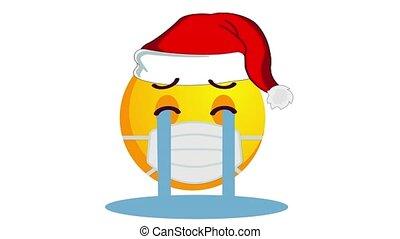 chapeau, isolé, channel., alpha, protecteur, pleurer, santa, animation, claus, jaune, noël, emoji, monde médical, blanc, masque, arrière-plan.