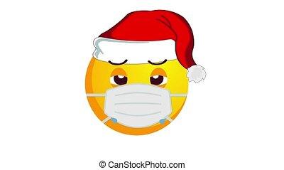 chapeau, isolé, channel., protecteur, alpha, santa, animation, noël, claus, jaune, emoji, pleurer, monde médical, blanc, masque, arrière-plan., malheureux