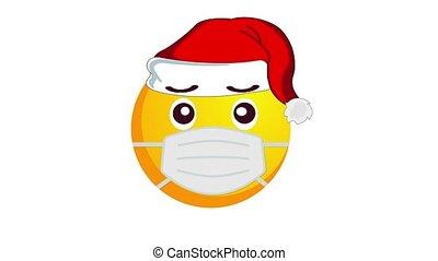 chapeau, isolé, channel., protecteur, alpha, santa, animation, noël, confondu, jaune, claus, emoji, monde médical, blanc, masque, arrière-plan.