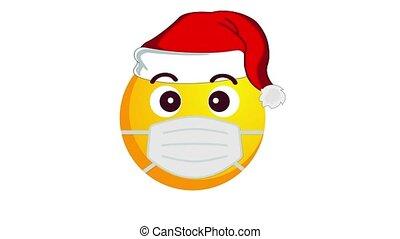 chapeau, isolé, channel., protecteur, alpha, sourire, santa, largement, claus, jaune, animation, enamored, noël, emoji, monde médical, blanc, masque, arrière-plan.