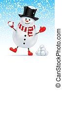 chapeau, jouer, bonhomme de neige, sommet, game., boule de neige