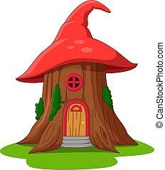 chapeau, maison, conte, dessin animé, fait, fée