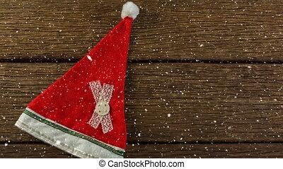 chapeau, neige, bois, tomber, noël, santa