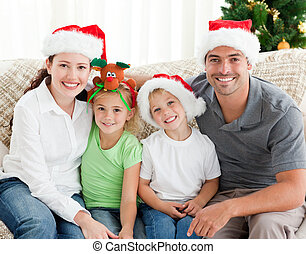 chapeau, noël, famille, heureux