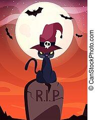 chapeau, noir, cimetière, chat, magicien, scène