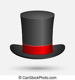 chapeau noir, isolé, sommet