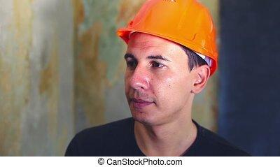 chapeau, ouvrier construction, homme, portrait, casque, conversation, dur