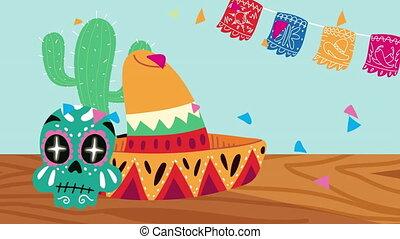 chapeau, peint, mexique, célébration, animation, crâne, mexicain, tête