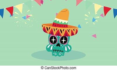 chapeau, peint, mexique, célébration, animation, maricahi, porter, crâne