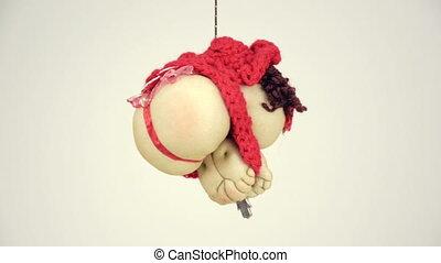 chapeau, pendre, dame, rouges, poupée