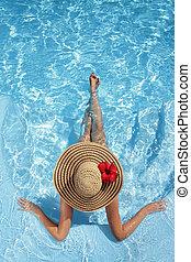 chapeau, piscine, femmes