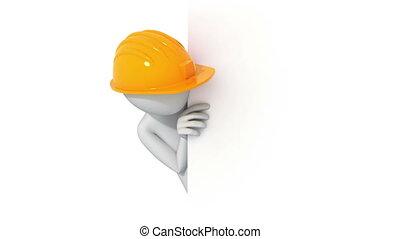 chapeau, pouces, 3d, homme, up!, dur
