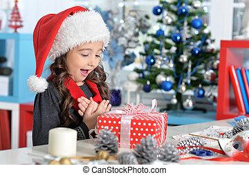 chapeau, présent, girl, séance, noël, santa, heureux